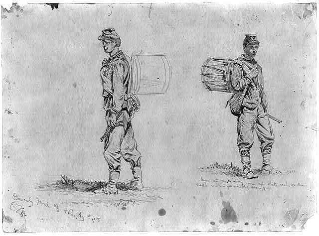 Study of drummer boys on the march
