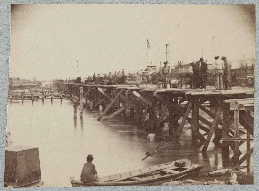 Temporary bridge across Pamunkey River, Va., near White House Landing