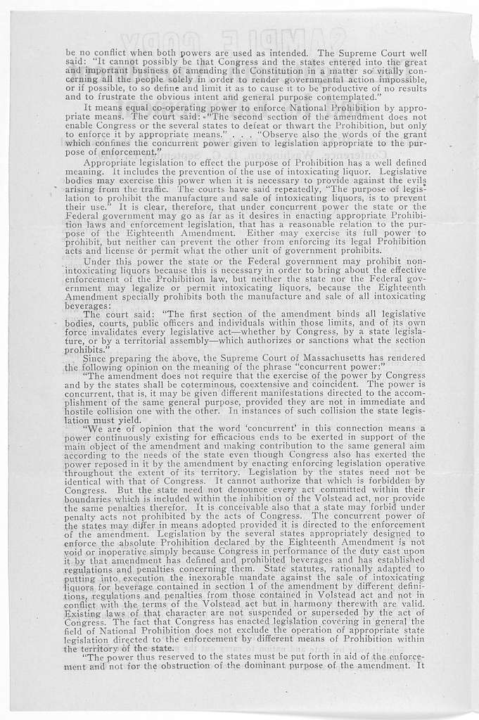 The eighteenth amendment and its enforcement. Address by Wayne B. Wheeler, LL. D. at the National conference, Washington, D. C., September 15, 1920. [Westerville, Ohio. 1920].
