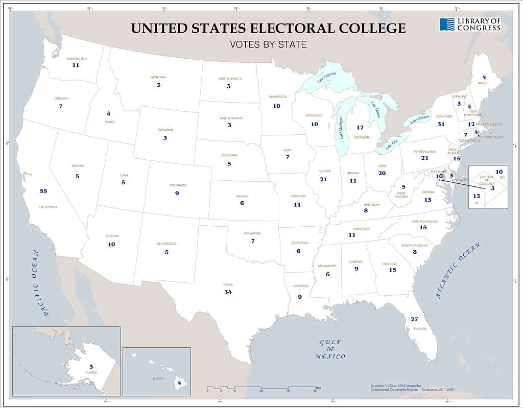 United States electoral college, votes by state /