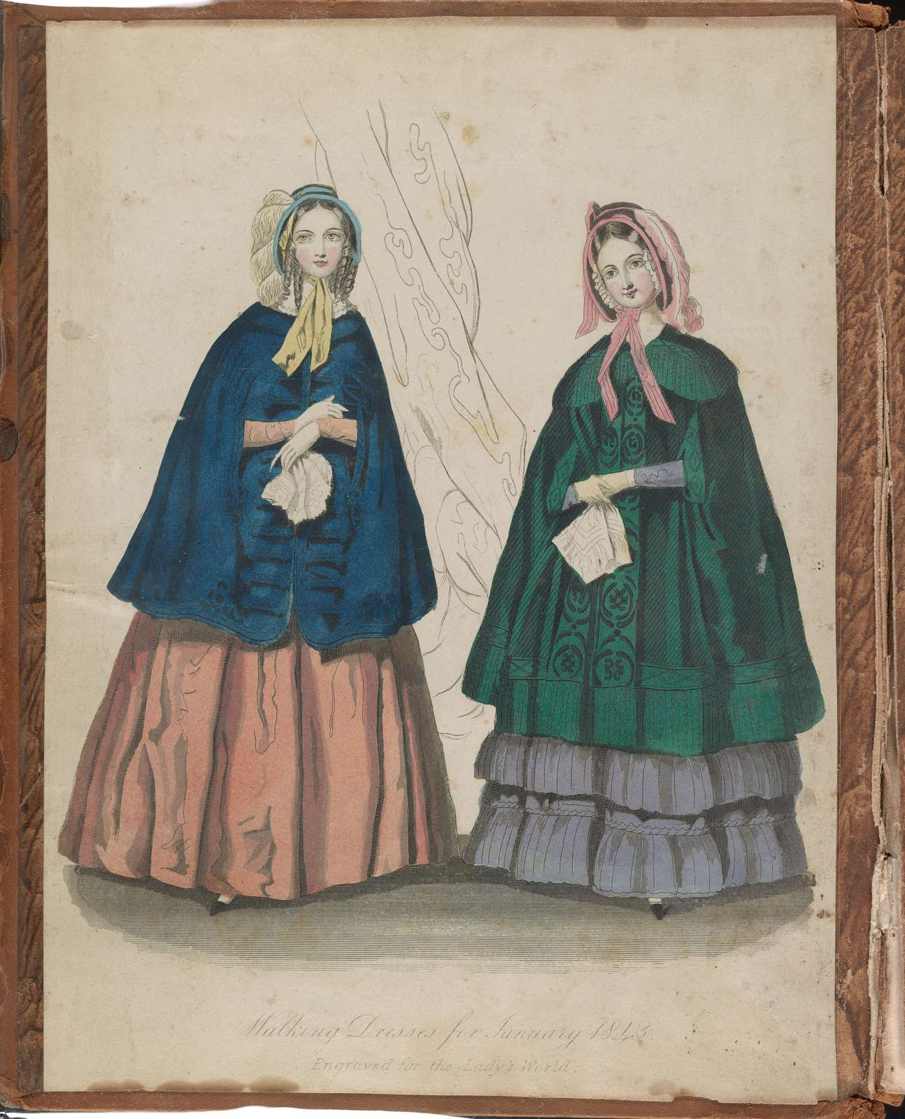 Walking dresses for January 1843 Engraved for the Lady's World.