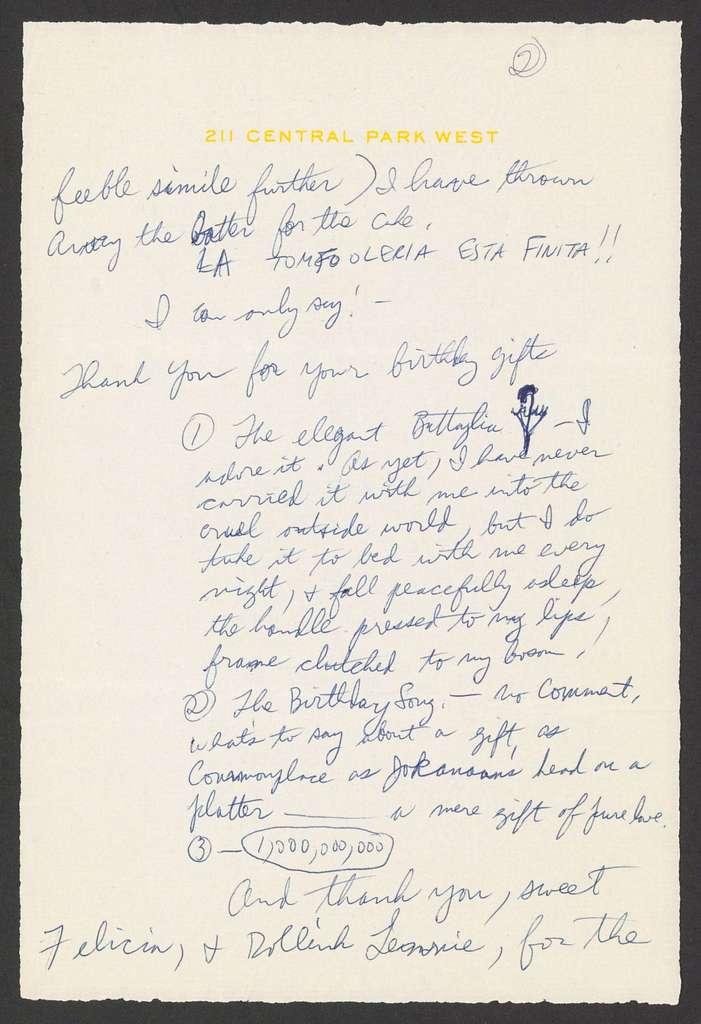 Adolph Green to Leonard and Felicia Bernstein, n.d