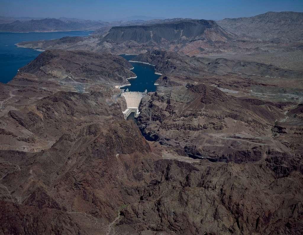 Aerial view of Hoover Dam, near Boulder City, Nevada