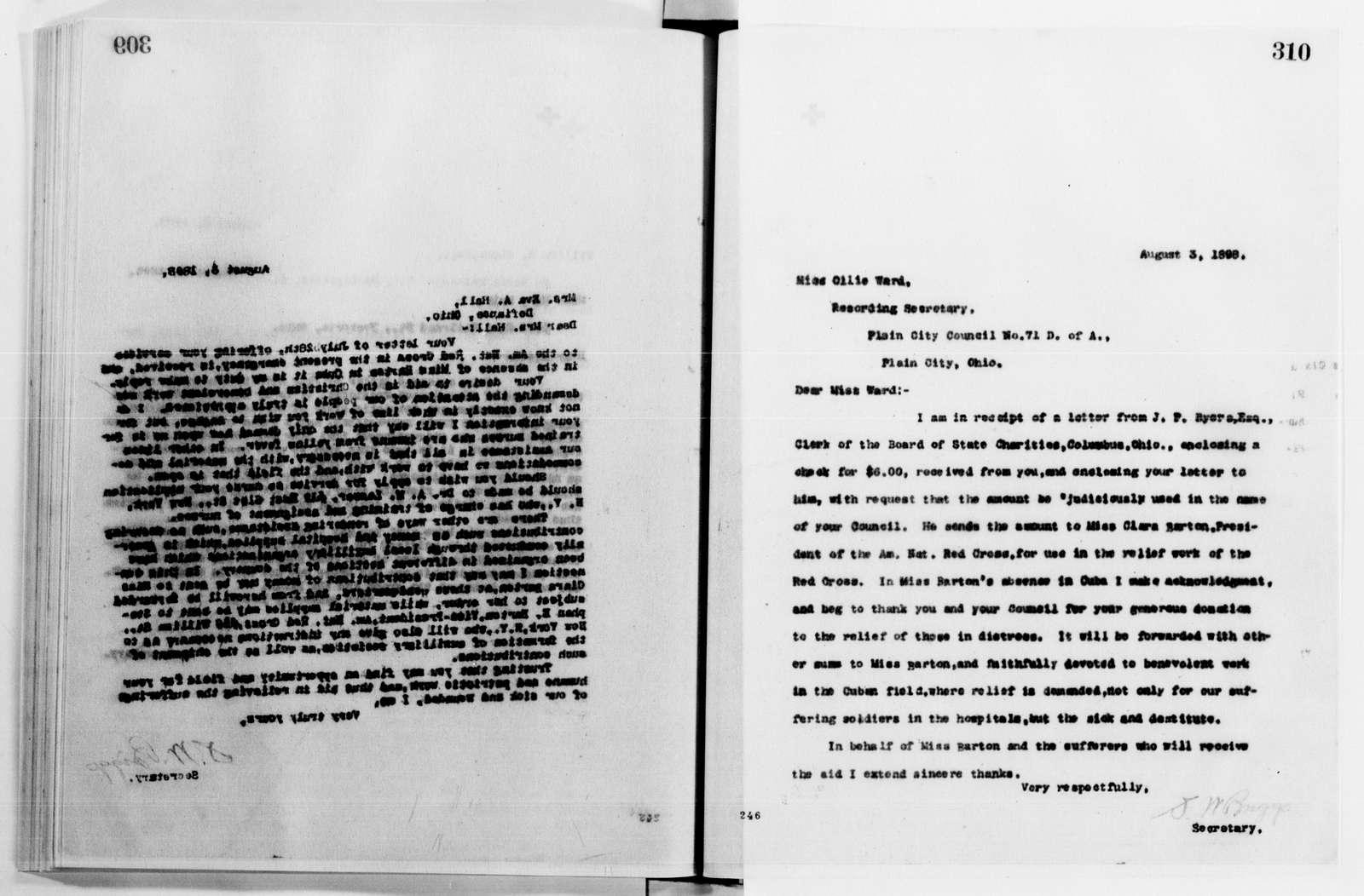 Clara Barton Papers: Letterbooks, 1876-1911; 1898, June-Sept.; 1908, Oct.-1911, Nov.; pp. 91-362