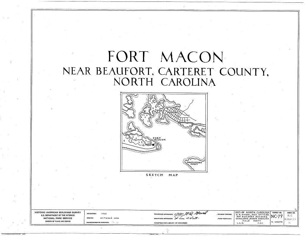 Fort Macon, Bogue Point on Fort Macon Road, Beaufort, Carteret County, NC