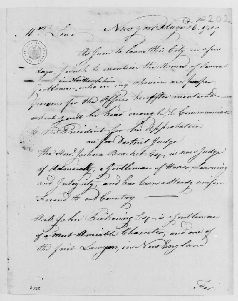 George Washington Papers, Series 7, Applications for Office, 1789-1796: John Langdon