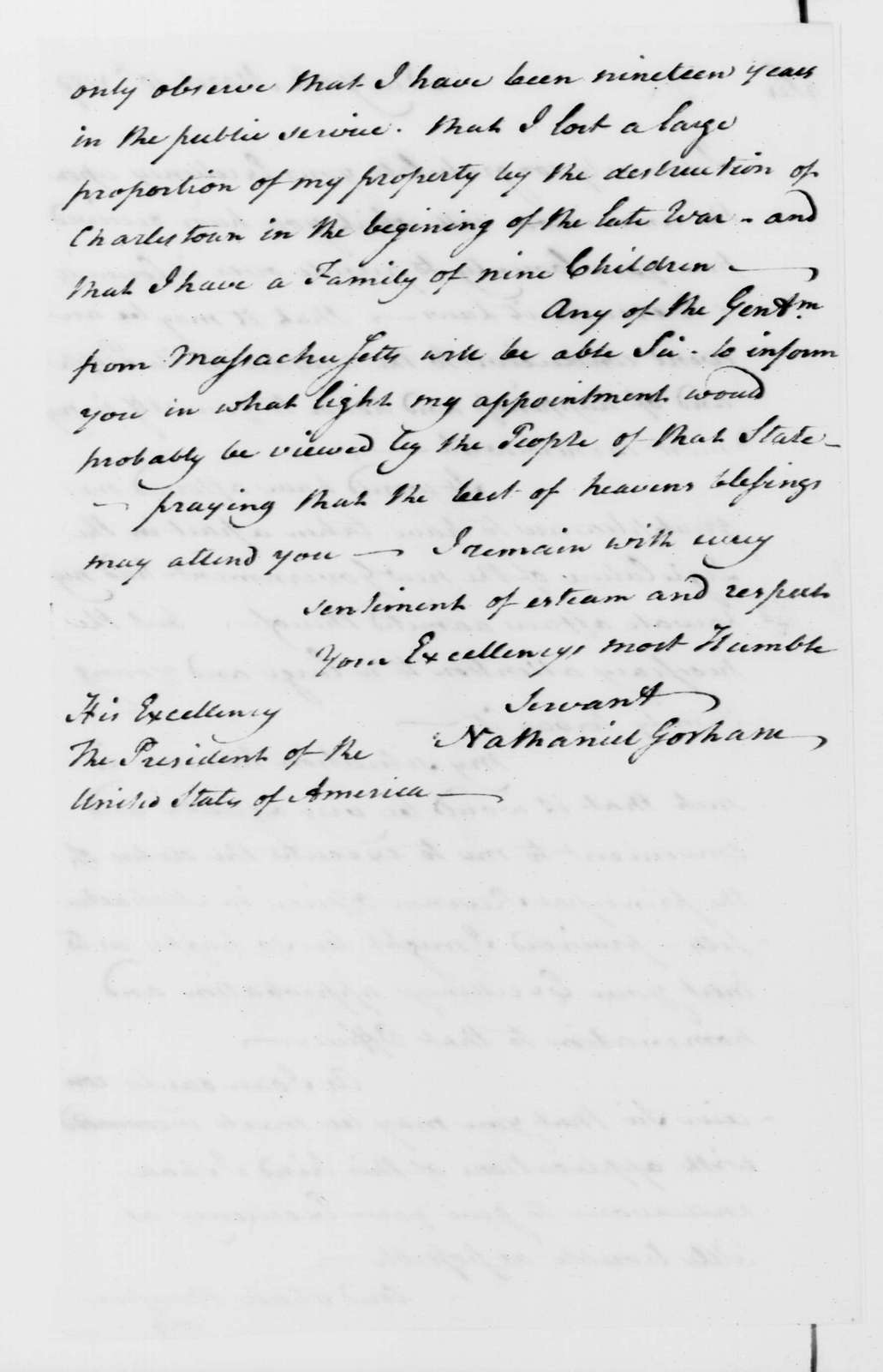 George Washington Papers, Series 7, Applications for Office, 1789-1796: Nathaniel Gorham