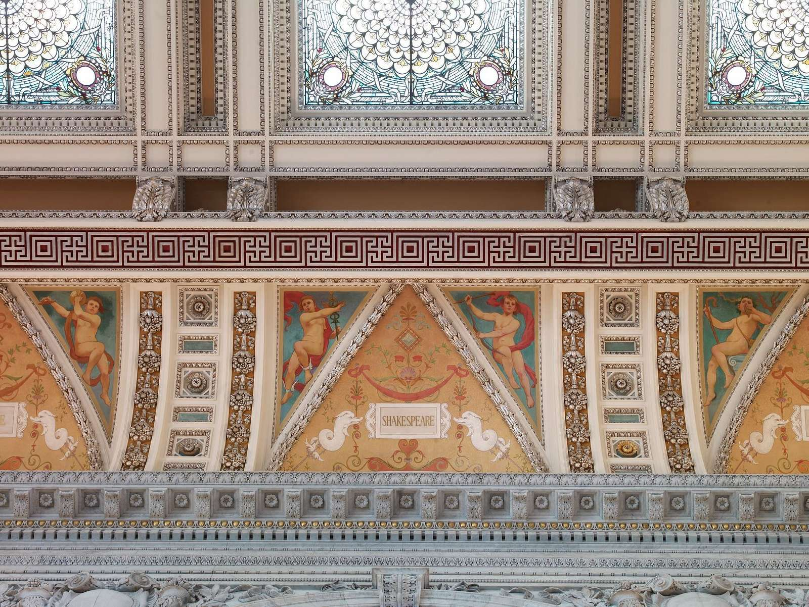 [Great Hall. Detail of ceiling and cove showing Shakespeare plaque. Library of Congress Thomas Jefferson Building, Washington, D.C.]