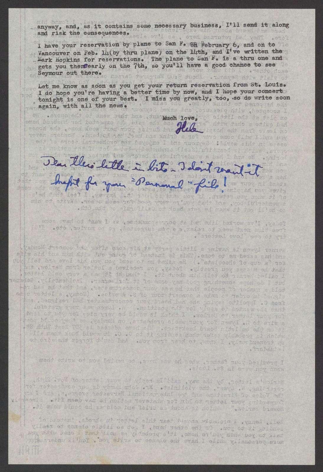 Helen Coates to Leonard Bernstein, December 1, 1945