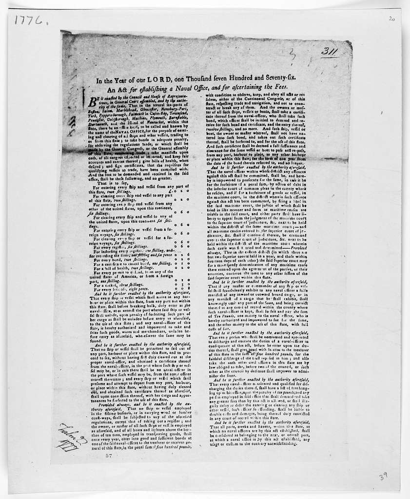 In the year of our Lord, one thousand seven hundred and seventy-six. An act for establishing a naval office for ascertaining the fees. [Watertown: Printed by Benjamin Edes, 1776].