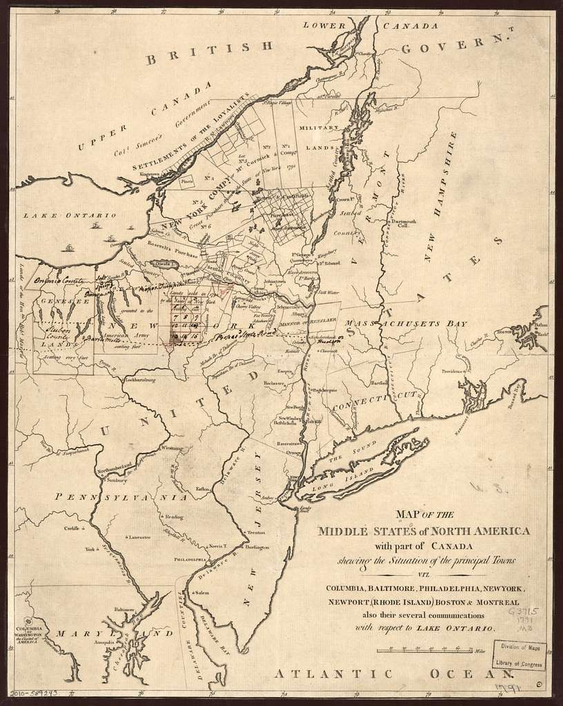Map of the middle states of North America with part of Canada shewing the situation of the principal towns, viz. Columbia [i.e. Washington, D.C.], Baltimore, Philadelphia, New York, Newport, Rhode Island, Boston & Montreal, also their several communications with respect to Lake Ontario.