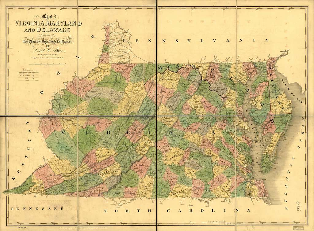 Map of Virginia, Maryland and Delaware exhibiting the post offices, post roads, canals, rail roads &c.