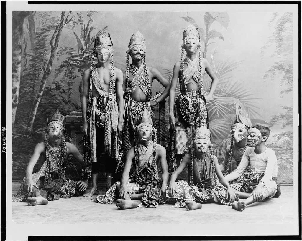 """Masked men of the theater acting in """"Topéing,"""" Java, Indonesia"""