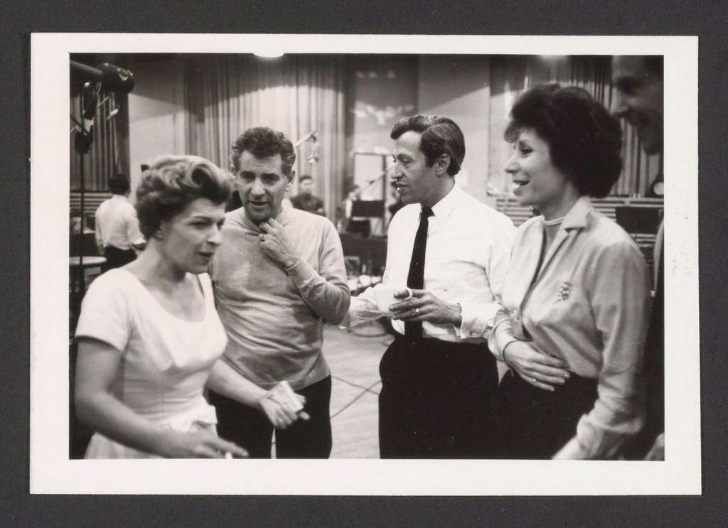 Nancy Walker, Leonard Bernstein, Adolph Green, and Betty Comden during the Columbia recording session of On the Town