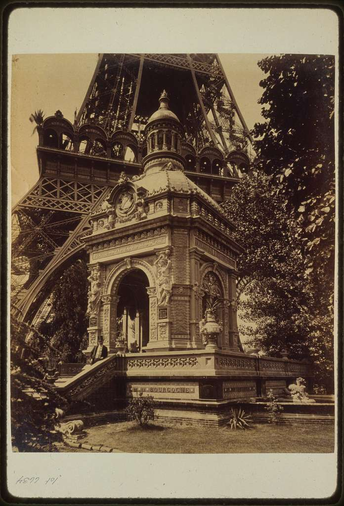 [Pavilion Perusson, exhibit of bricks, enamels, terre-cotta and ceramics, for M. Perusson and Desfontaines, architect T. Ferret, located near the base of Eiffel Tower, Paris Exposition, 1889]