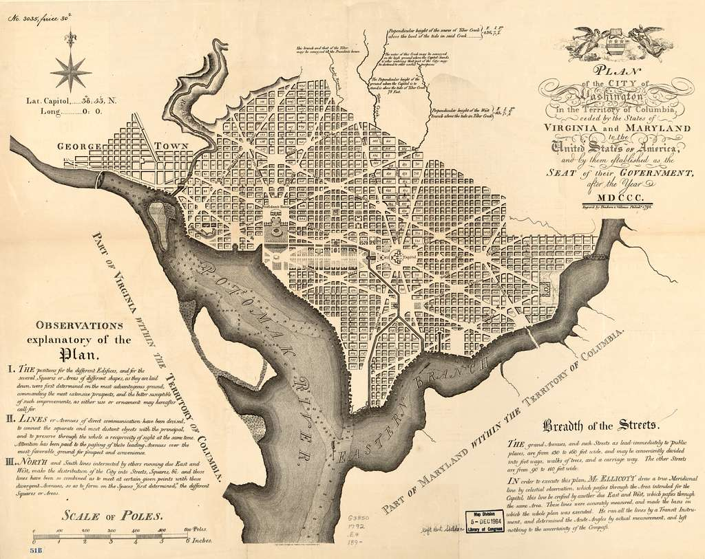 Plan of the city of Washington in the territory of Columbia : ceded by the states of Virginia and Maryland to the United States of America, and by them established as the seat of their government, after the year MDCCC.