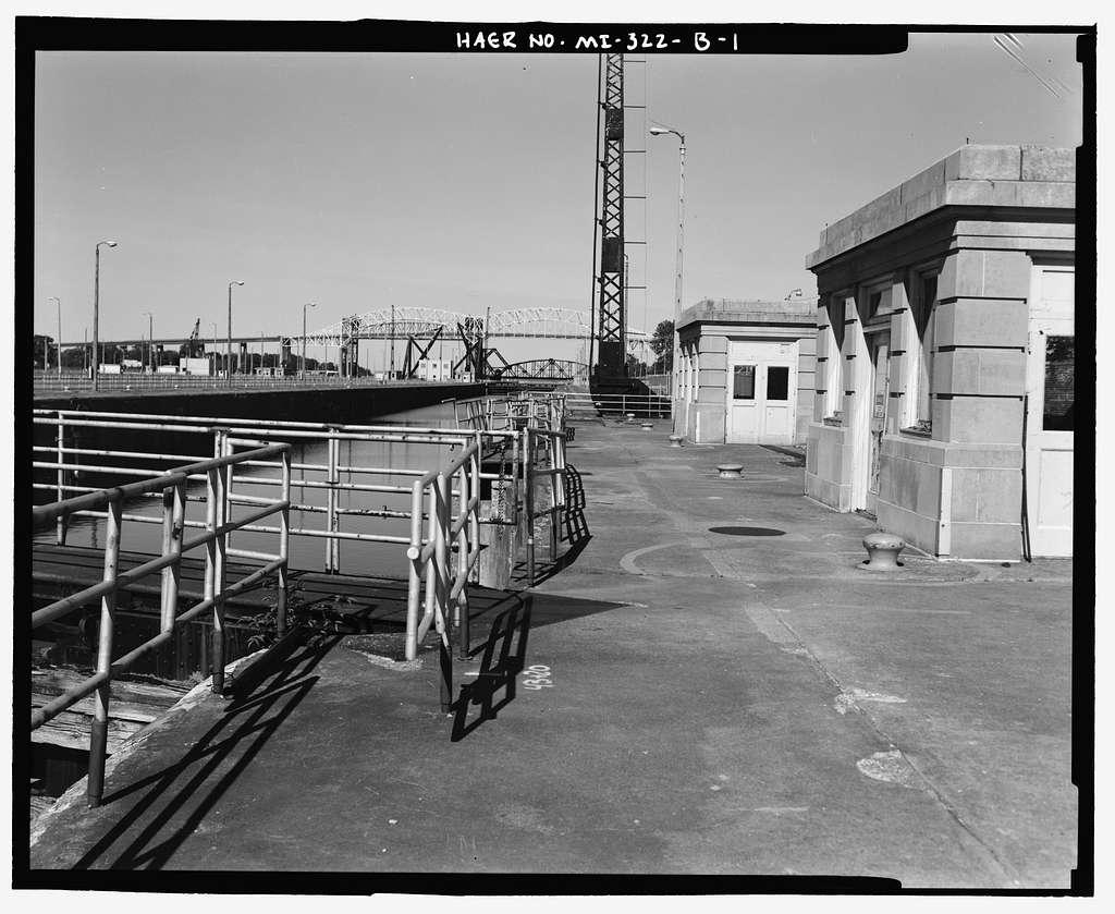 St. Mary's Falls Canal, Soo Locks, Sabin Lock Subcomplex, St. Mary's River at Falls, Sault Ste. Marie, Chippewa County, MI