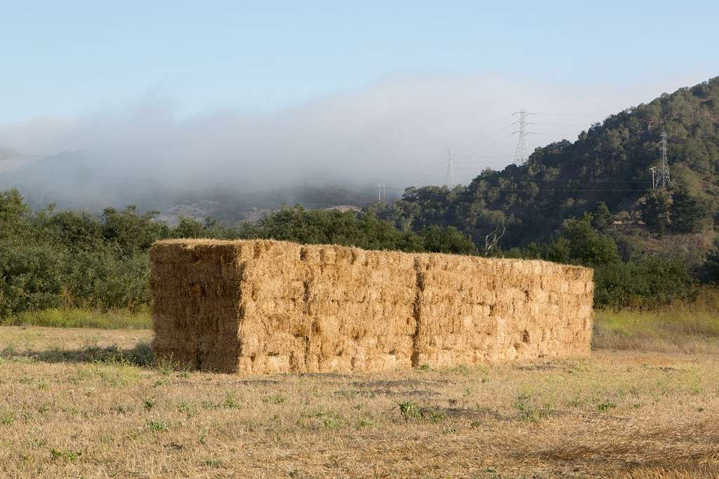 Stacked hay. Beautiful scenes along Route 46 in California