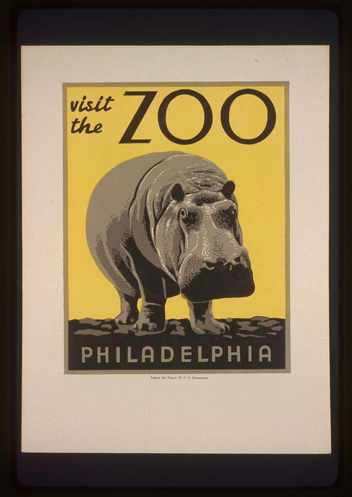 San Francisco Zoo Hippopotamus United States Travel Advertisement Poster