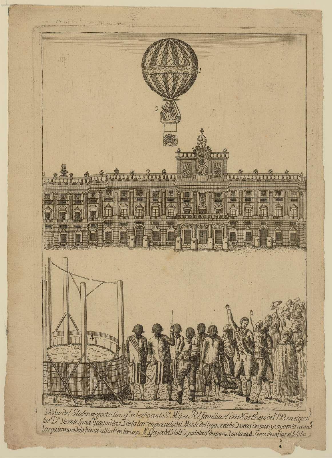 Vista del globo areostatico qe. se hecho ante Ss. Ms. y su Rl. familia el dia 8 de enero de 1793 en el qual fue Dn. Vicente Lunardi y cayó â las 2 de la tarde ...