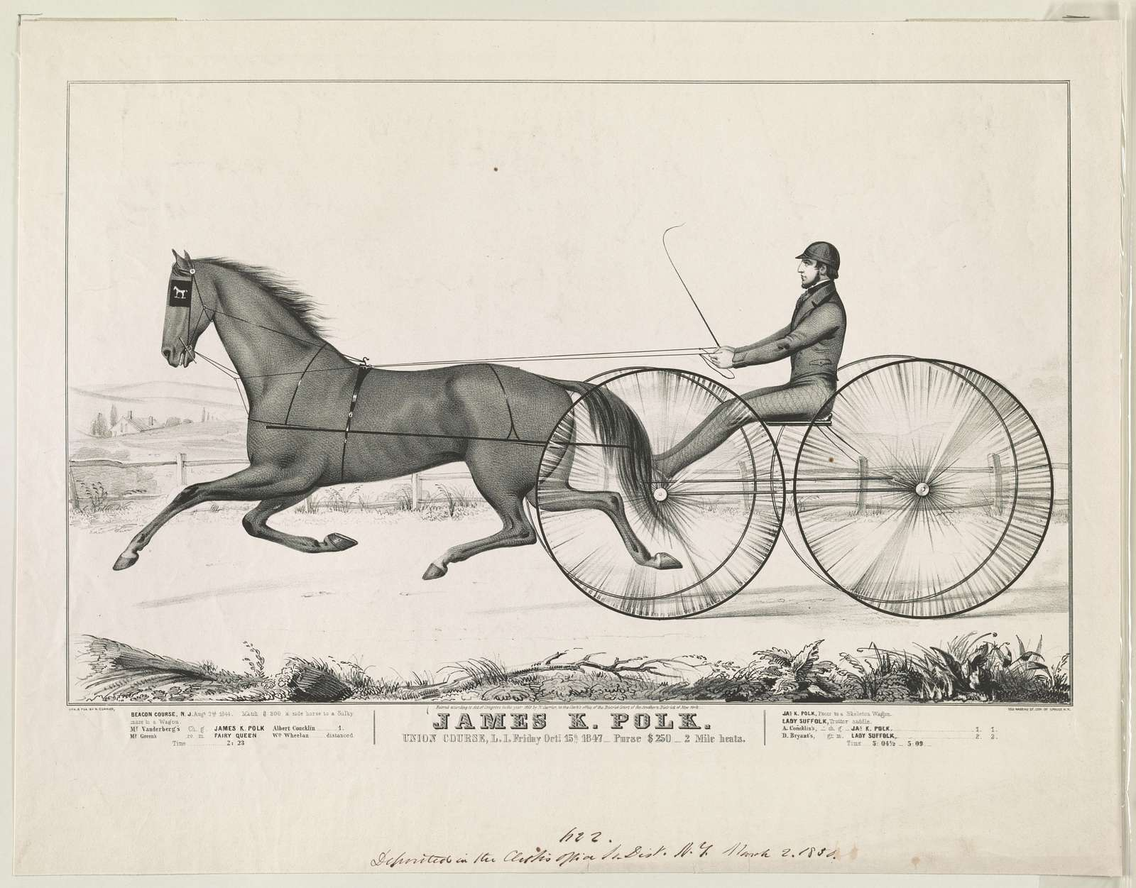 James K. Polk, Union Course, L.I., Friday, Oct. 15, 1847 / lith and pub. by N. Currier.