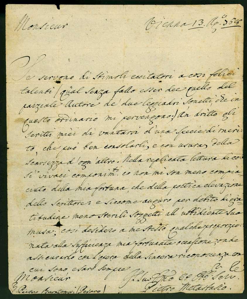 Letter from Pietro Metastasio to Pietro Buontempi,  13 August 1768