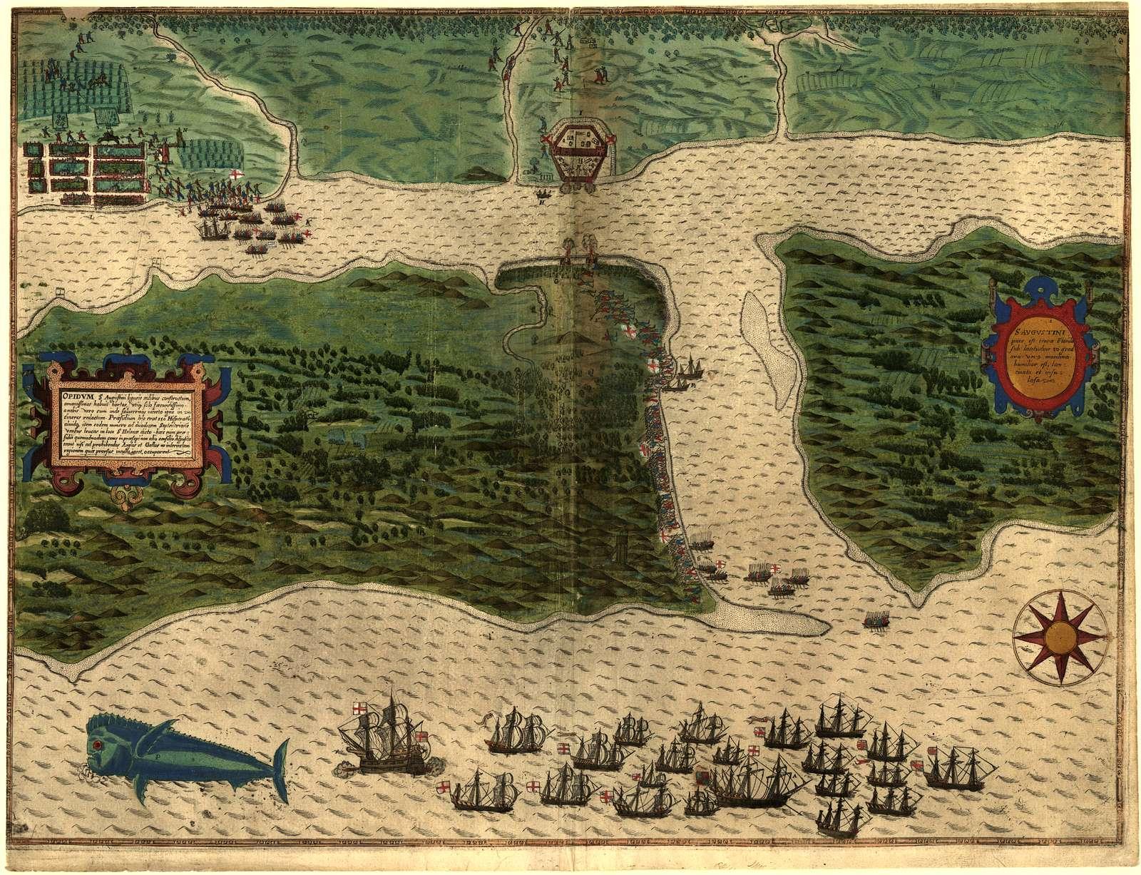 S. Augustini : pars est terra Florida, sub latitudine 30 grad, ora vero maritima humilior est, lancinata et insulosa.