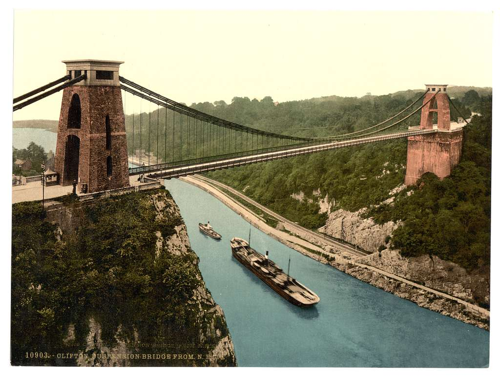 [Clifton suspension bridge from the north east cliffs, Bristol, England]
