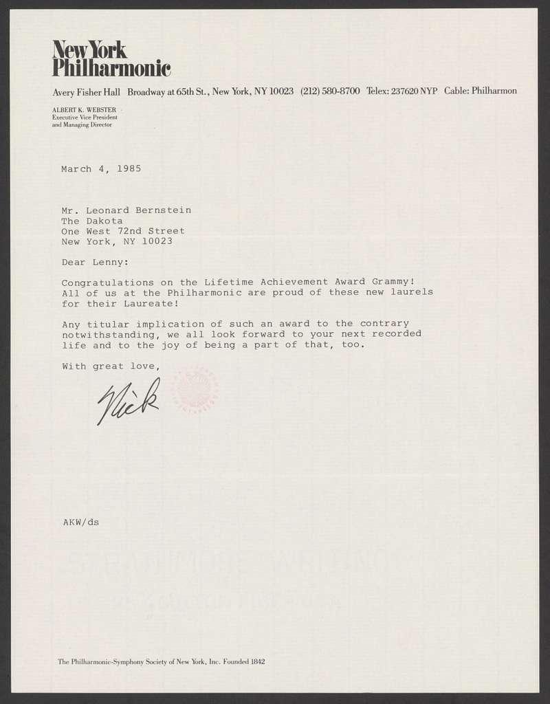 The Philharmonic-Symphony Society of New York to Leonard Bernstein, March 4, 1985