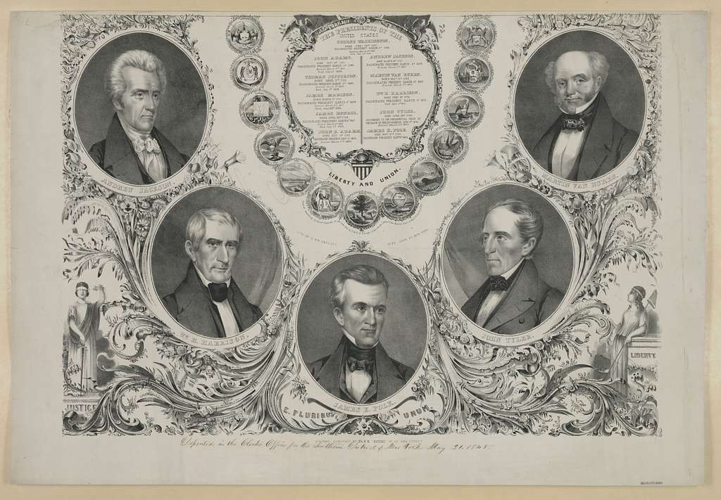 The Presidents of the United States. Liberty and union / lith. of G. & W. Endicott, No. 22 John St., New York.