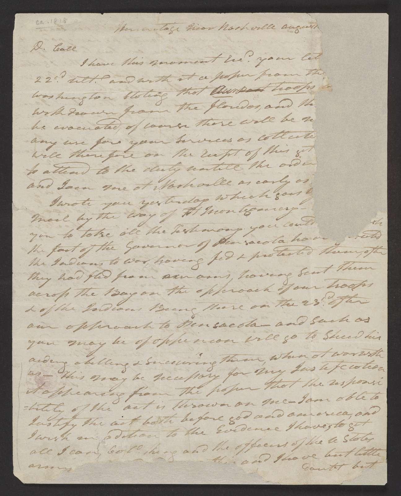 Andrew Jackson to Capt. Richard Keith Call,