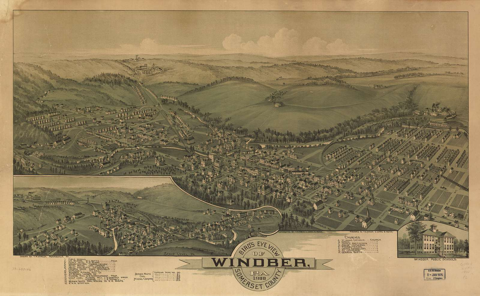 Bird's eye view of Windber, Pa. Somerset County 1900.