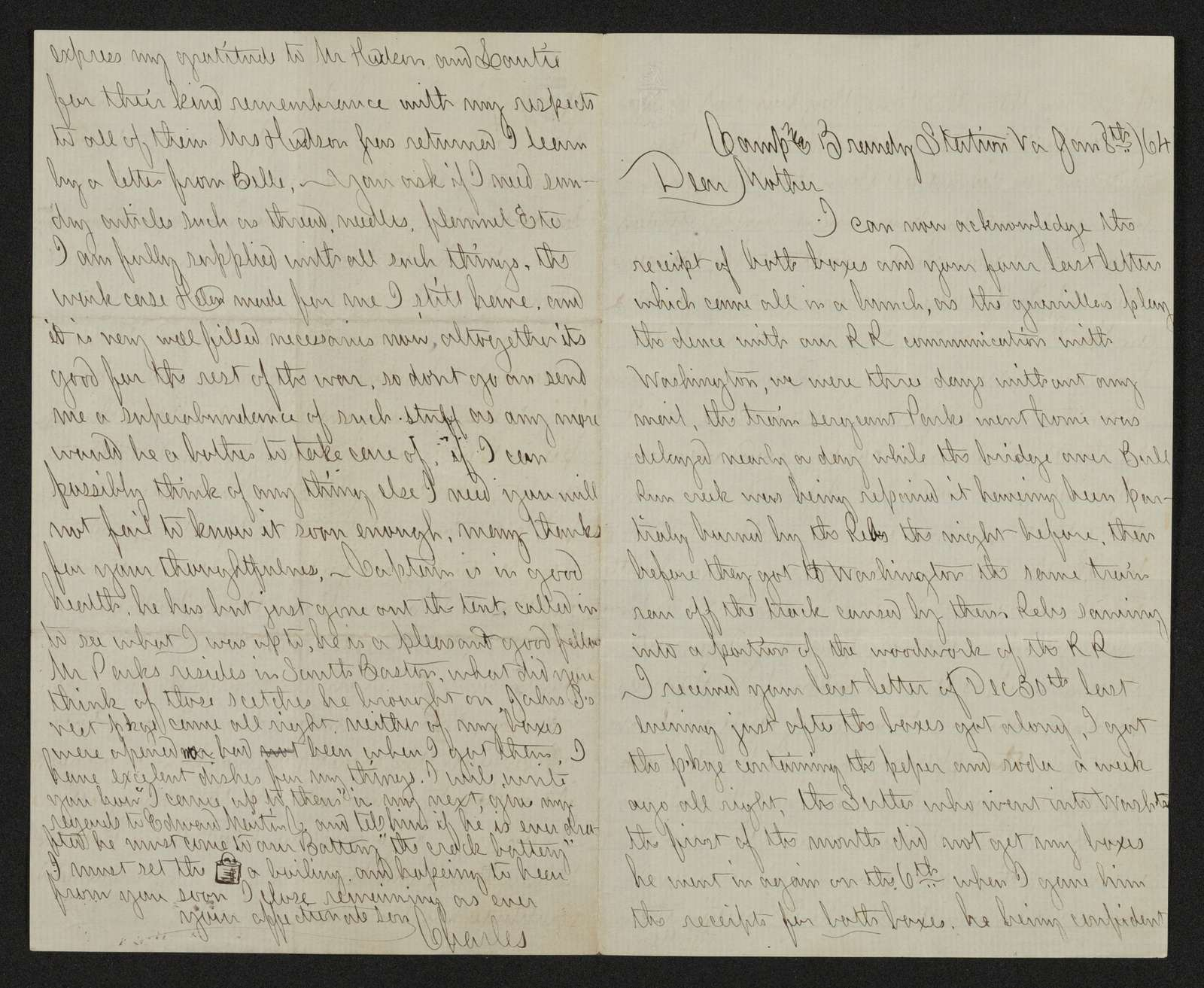 Charles Wellington Reed Papers: Correspondence; 1864; Jan.-Feb.