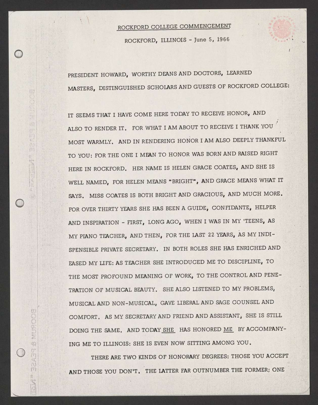 commencement address (including homage to Helen Coates), Rockford College, 1966 June 4