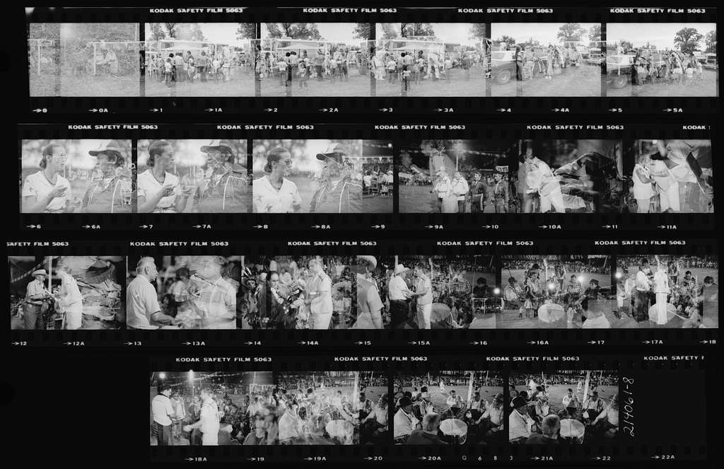 Contact Sheet: 1-3 Crafts Table; 4-5 Robinson Family Gets Ready for Evening Dance; 6-8 Maria Talks with Her San Juan Pueblo Friend; 10 San Juan Pueblo; 10-19 Paul Brill Presents Genealogies; 20-22 Host Drum and Tai Piah Singers