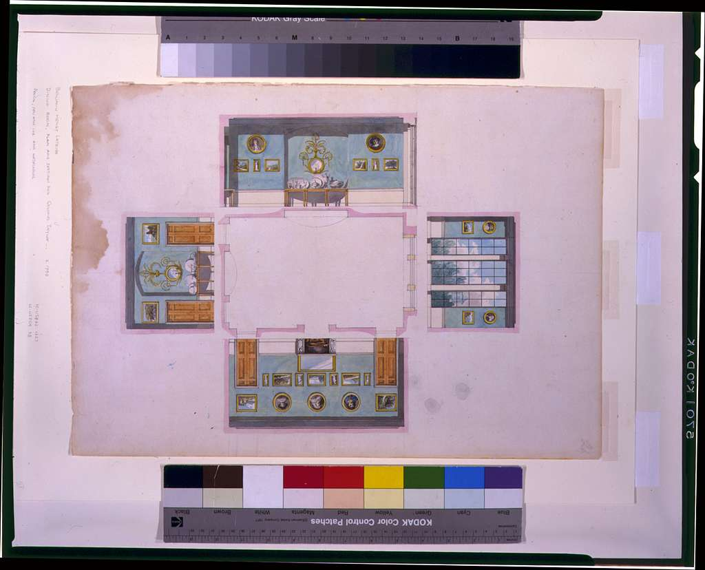 "[Houses and a church (""Buildings Erected or Proposed to be Built in Virginia""). Dining room plan with elevations]"