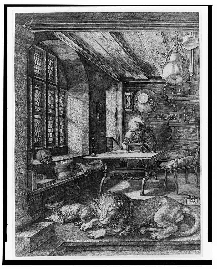 [St. Jerome in his study] / AD [monogram].