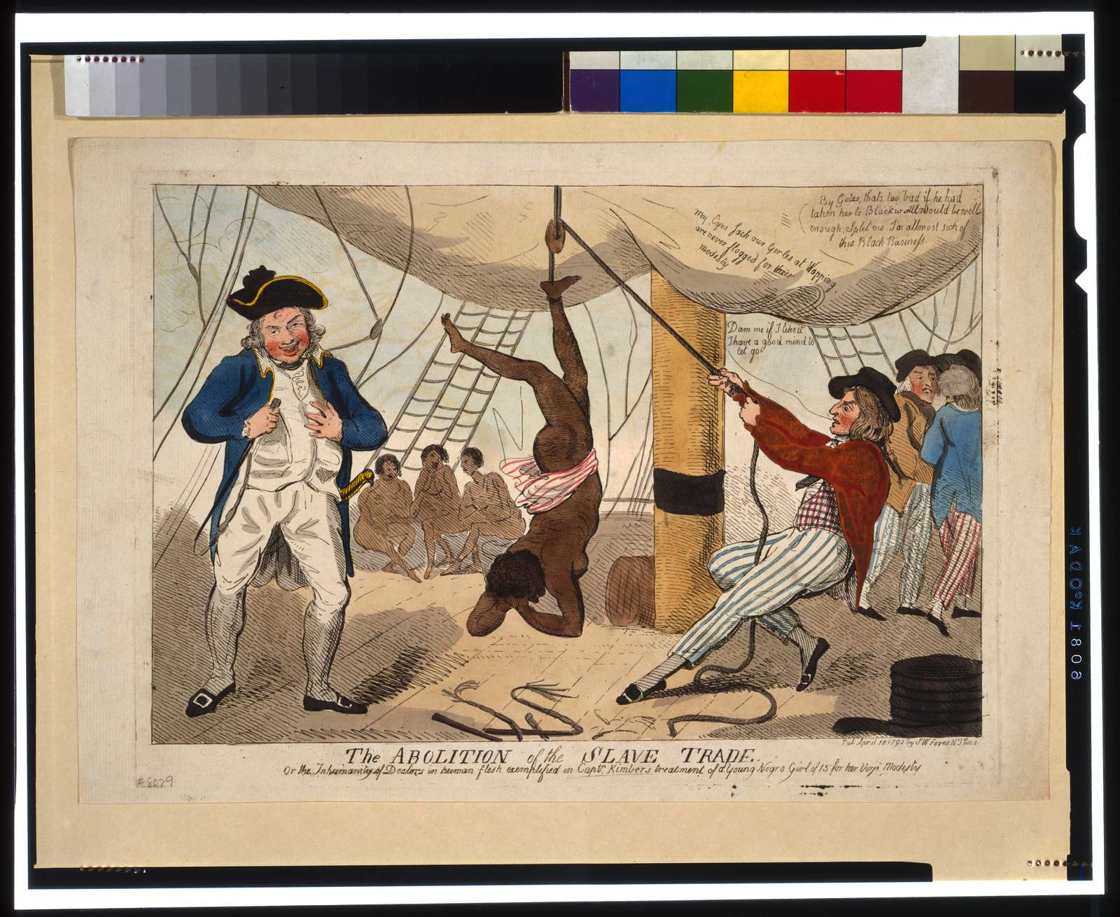 The abolition of the slave trade Or the inhumanity of dealers in human flesh exemplified in Captn. Kimber's treatment of a young Negro girl of 15 for her virjen (sic) modesty.