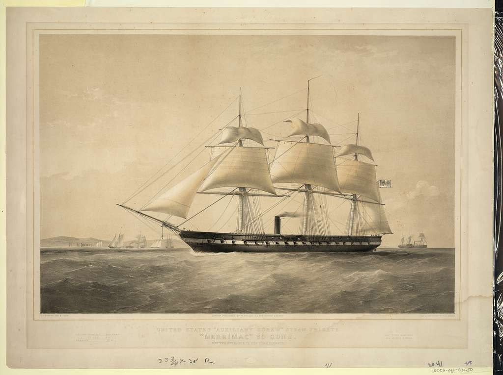 """United States """"Auxiliary Screw"""" steam frigate """"Merrimac"""" 60 guns. Off the entrance to New York harbour / T.G. Dutton, del et lith. ; Day & Son, Lithrs. to the Queen."""