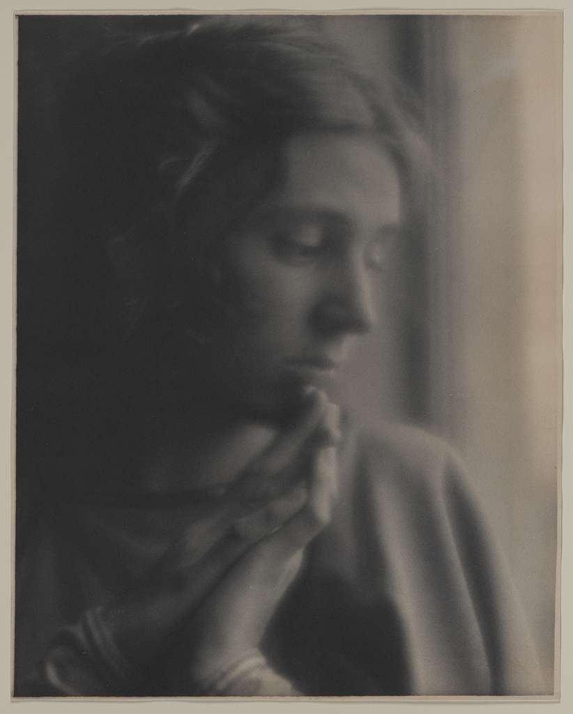 [Woman (Beatrice Baxter Ruyl), in cloak, with hands together]
