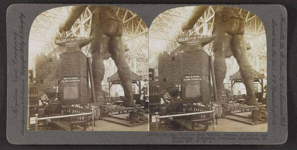 At the feet of old Vulcan, Palace of Mines and Metallurgy, Louisiana Purchase Exposition, St. Louis, Mo., U.S.A.