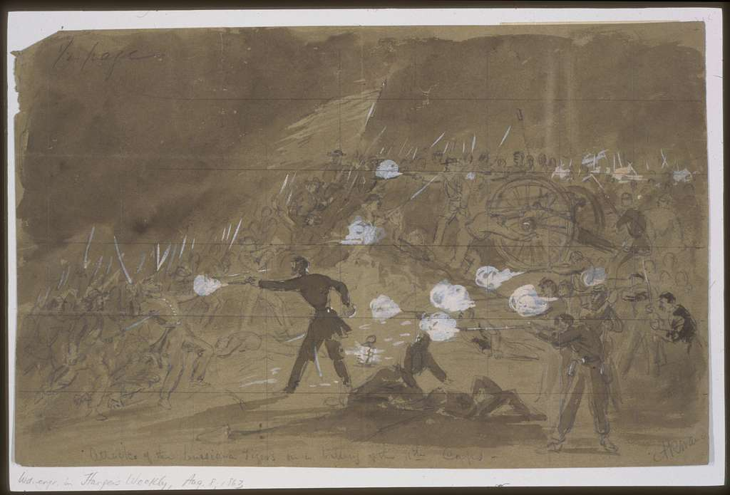 Attack of the Louisiana Tigers on a battery of the 11th Corps / A.R. Waud.