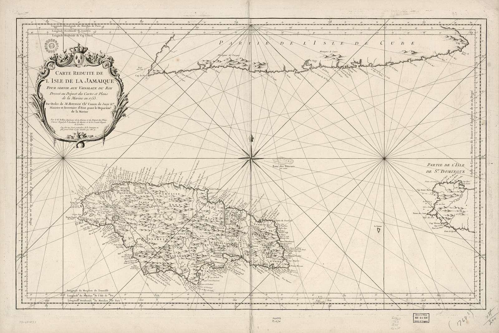Carte reduite de l'isle de la Jamaique.