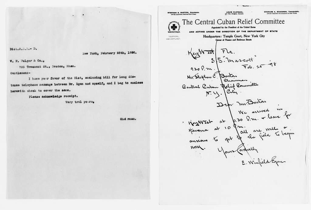 Clara Barton Papers: Red Cross File, 1863-1957; American National Red Cross, 1878-1957; Relief operations; Spanish-American War; Correspondence; Special; Egan, E. Winfield, 1898-1902, undated
