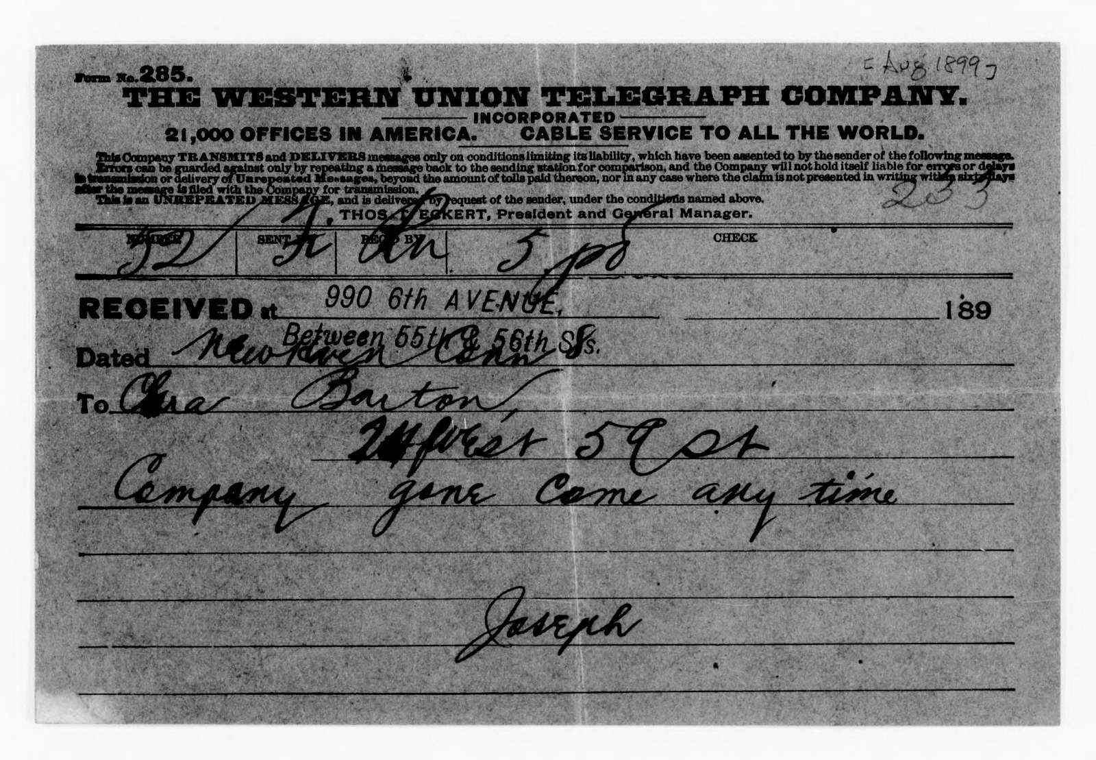 Clara Barton Papers: Red Cross File, 1863-1957; American National Red Cross, 1878-1957; Relief operations; Spanish-American War; Correspondence; General; 1899, Aug.-1900, Apr., undated