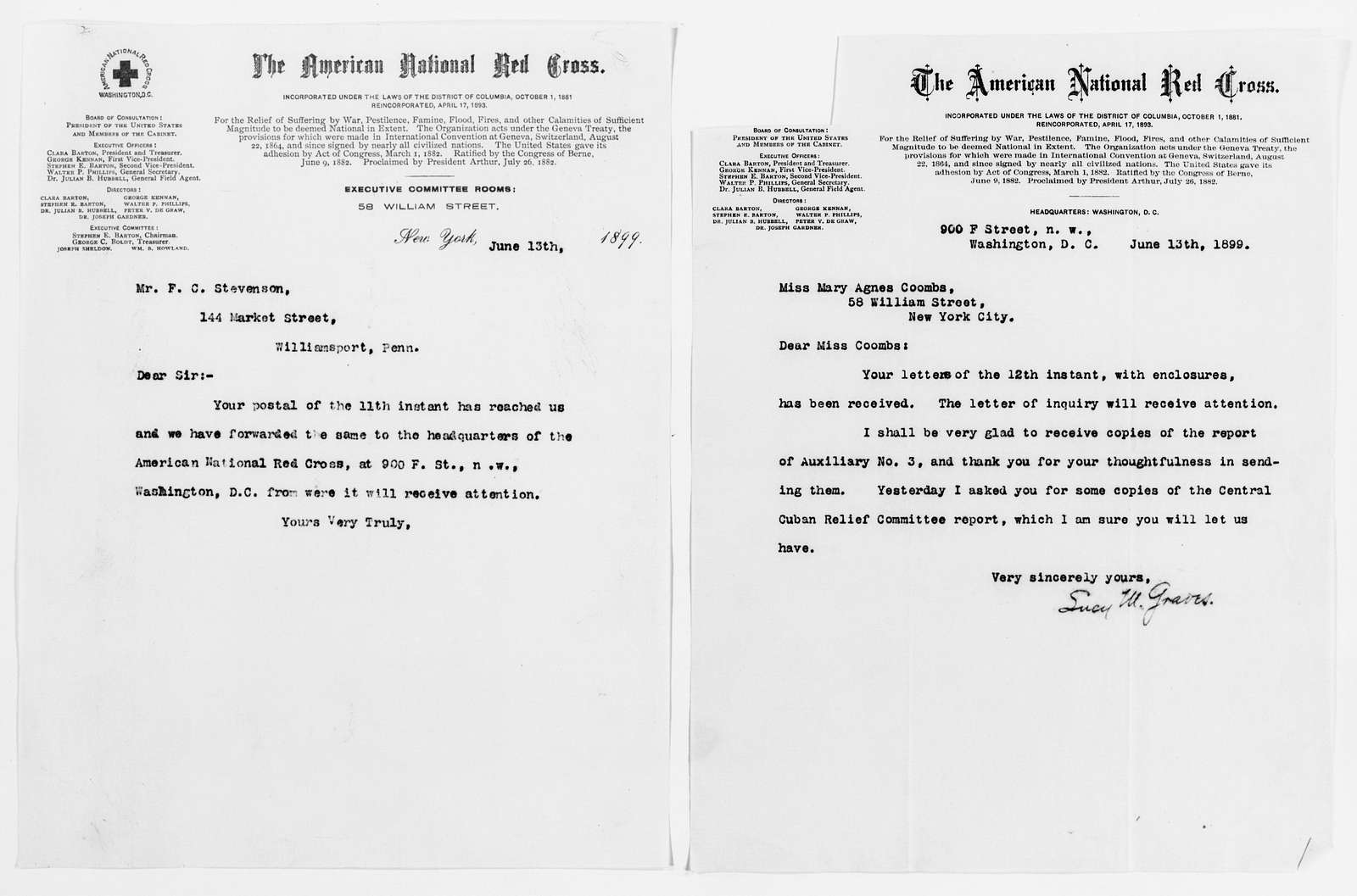 Clara Barton Papers: Red Cross File, 1863-1957; American National Red Cross, 1878-1957; Relief operations; Spanish-American War; Correspondence; General; 1899, Mar.-July