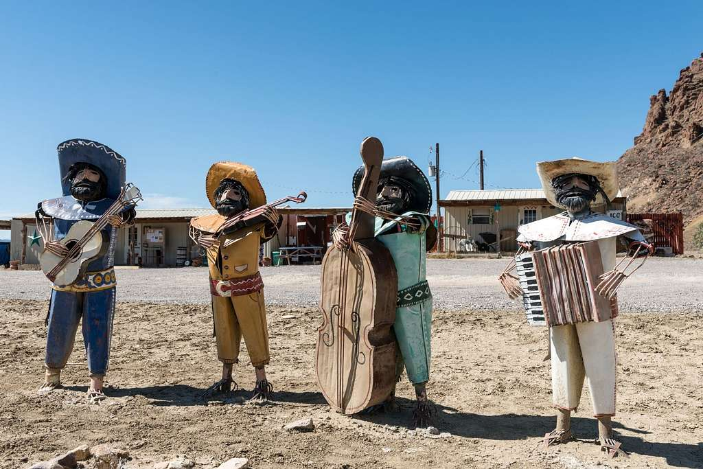 """Funky art in the isolated Terlingua settlement, just north of Big Bend National Park in Texas's """"Trans-Pecos"""" region"""