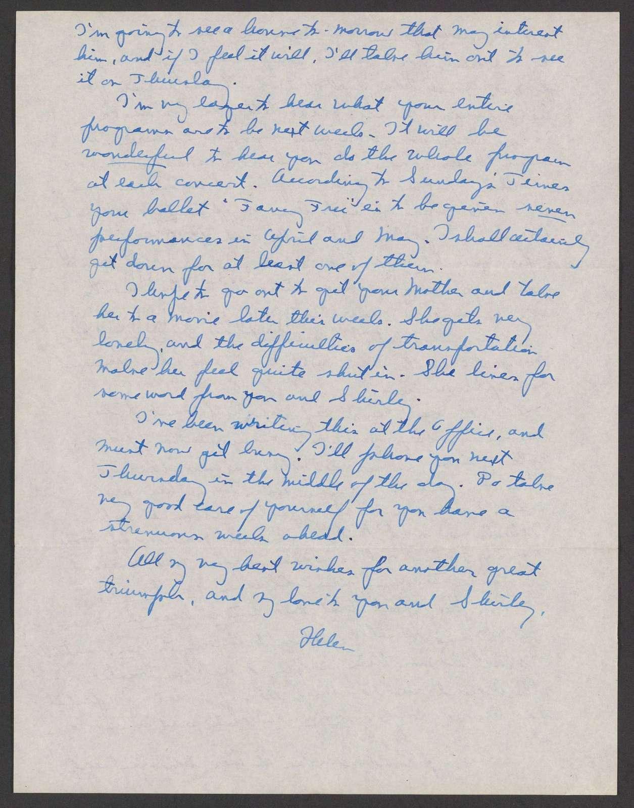 Helen Coates to Leonard Bernstein, March 21, 1944