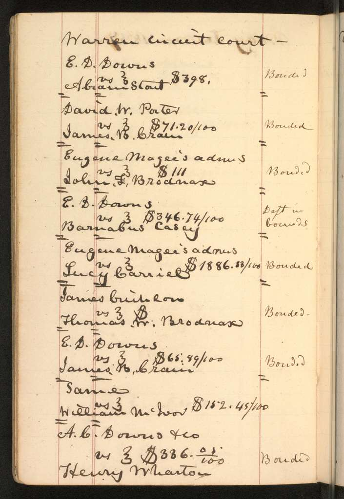 Joseph Holt Papers: Diaries, Notebooks, and Epistolary Record, 1836-1892; Notebooks; 1836-1837 , 1852 , circa 1855