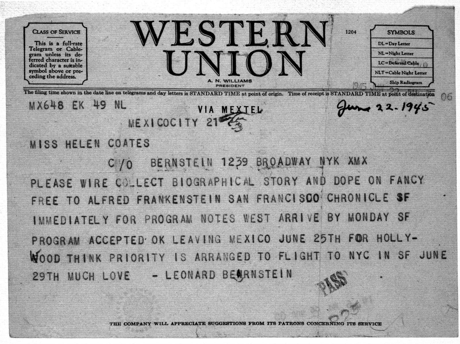 Letter from Leonard Bernstein to Helen Coates, June 22, 1945